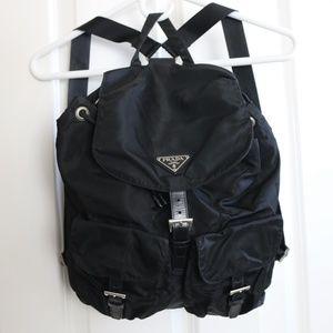 PRADA Black Nylon Backpack Vela Nero
